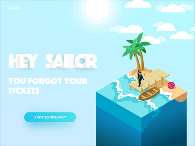 2x Dribbble Invites Giveaway summer time illustration isometric invite invitation dribbble invites draft