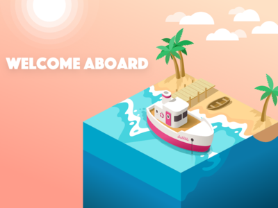 Welcome to Dribbble! beach yacht sunset illustration isometric