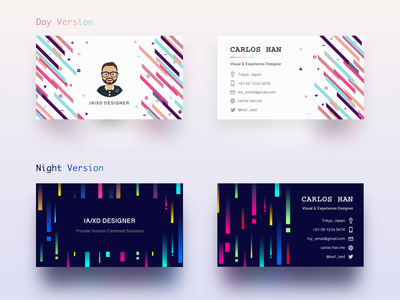 Business Card Design 2 Versions colours illustration business card design business card