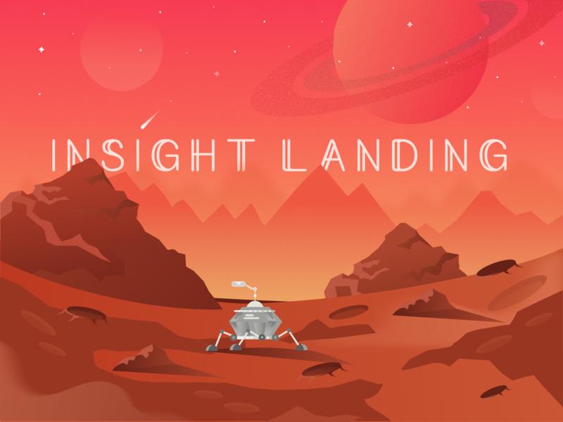 Mars Insight Landing 🛰 surface landing mars insight cosmology cosmos astronomy universe space illustration insight mars rover mars exploration mars