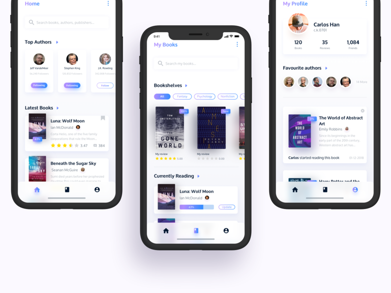 Book App UI purple goodreads app goodreads iphone x ios book ui deisgn book app ui app interface dailyui