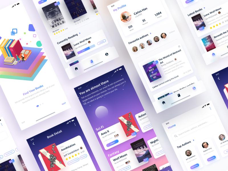 #Redesign - Goodreads App UI illustration purple iphone x app ios app interface design book app goodreads app app interface app design ui app interface dailyui