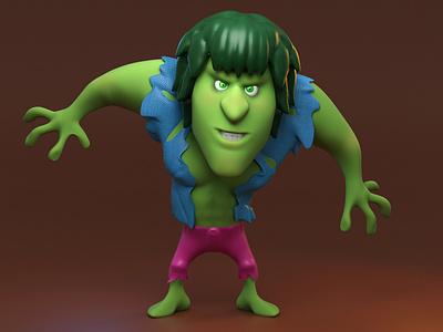 Hulk Lou Ferrigno cartoon zbrush character 3d hulk