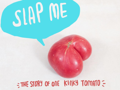 The short story of one tomato doodle illustration text mixed media tomato