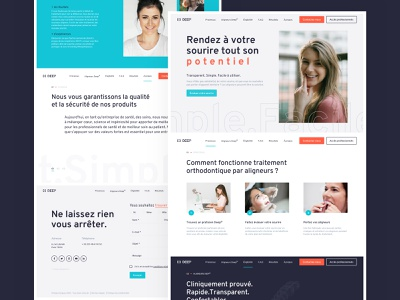 DEEP (Patient) Homepage smile orthodontist solution bleu orange about contact menu steps alignment dental brand design web design ux ui design
