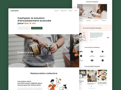 Cashpad Homepage green restaurant solution payment homepage branding agency menu illustration inspiration ux ui design web design