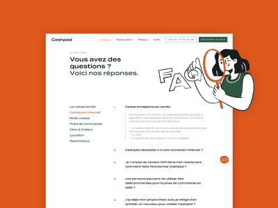 Cashpad FAQ illustration chat orange green branding menu illustration inspiration question faq ui ux web design design