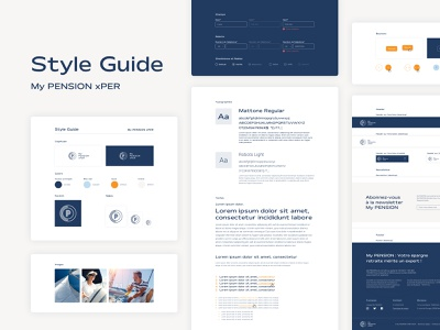 My PENSION xPER Style Guide colors pictures form icons logo typogaphy styleguide style guide web design design ui ux interface ui design