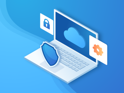 Cloud Security Isometric style