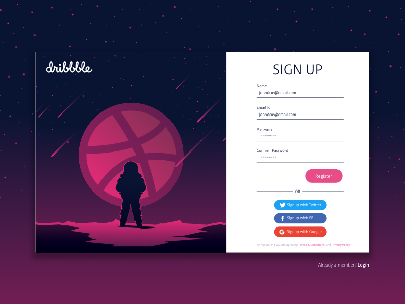 Dribbble Sign Up designer social network community userexperience ux userexperience ui userinterface vectors illustrations concept design dribbblians signup dribbble