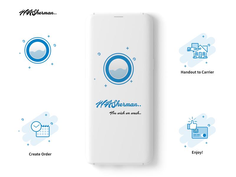 Washerman dhobi laundry mockups prespective order confirmed illustrations wallet offers landing page login splash screen wash