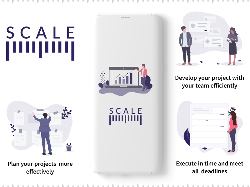 Scale- Concept Idea for project management walkthrough user interface splash scale project management illustrations