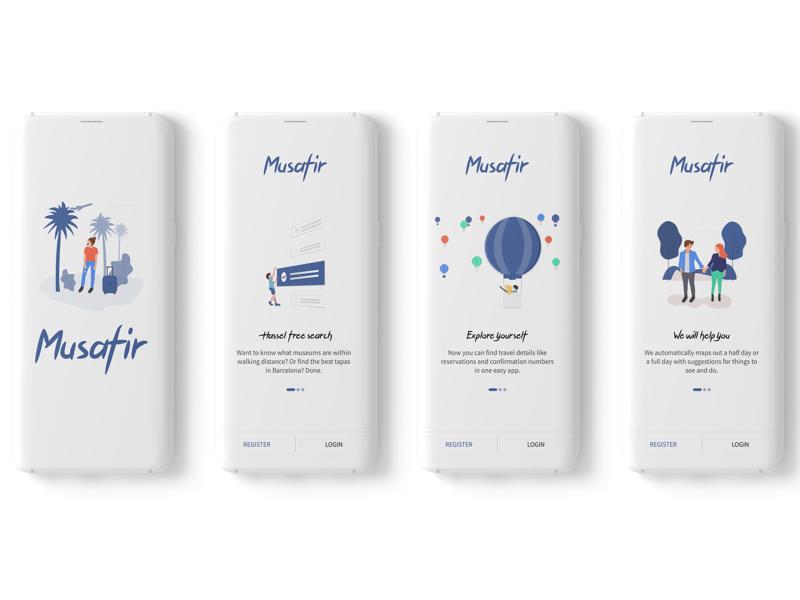 Musafir travelling vectors musafir walkthrough spalsh illustrations travel