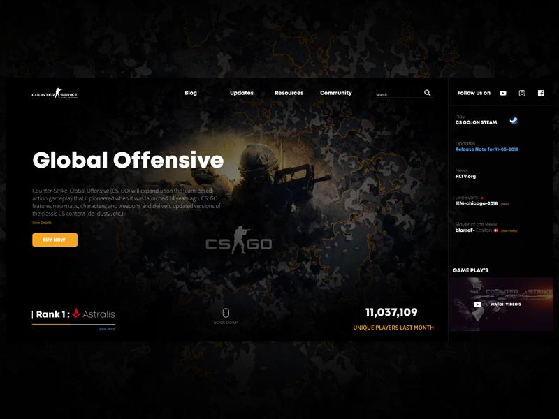 Counter Strike: Global Offensive gaming news gamer hero banner landing page webapp desktop astralis csgo counter strike