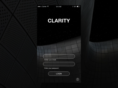 Clarity Camera App 🤳 gradients transparent black dark minimal login mobile app ios ux ui