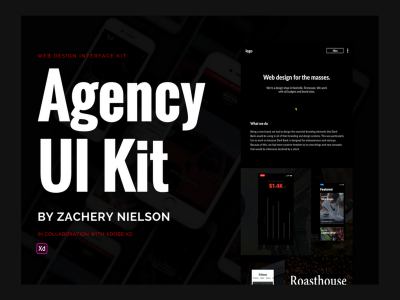 Adobe XD Agency UI Kit web creative typography macbook web design ui kit freebie adobe xd website ux ui