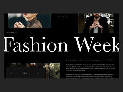 Fashion Week Article Webpage fashion photography xd creative dark black clean typography adobe xd web interface minimal website web design ux ui