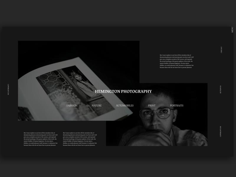 Hemington Photography Website xd creative black and white dark black clean web typography adobe xd interface minimal website web design ux ui photographer logo photography site portfolio website portfolio photography