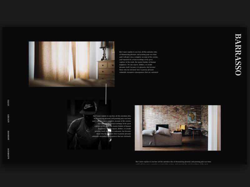 Barrasso Furniture Website branding type fashion black and white creative photography dark black clean web typography adobe xd interface minimal website web design ux ui furniture website interior decor website