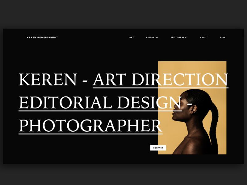 Keren Hemerschmidt Website fashion black and white xd photography dark black clean web typography adobe xd interface minimal website web design ux ui blog personal site portfolio website portfolio