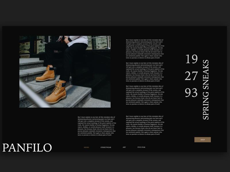 Panfilo Fashion Blog adobe creative web black and white photography dark black typography adobe xd interface minimal website web design ux ui fashion art fashion