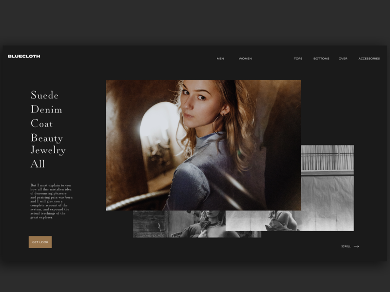 Bluecloth Clothing Homepage 100th shot dark photography black and white clean web typography adobe xd interface minimal website web design ux ui fashion blog clothing website fashion website ecommerce clothing fashion