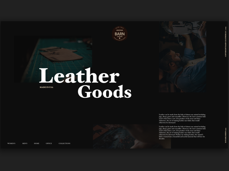 Barn Leather Goods Website photography leather goods leather typography adobe xd interface minimal website web design ux ui