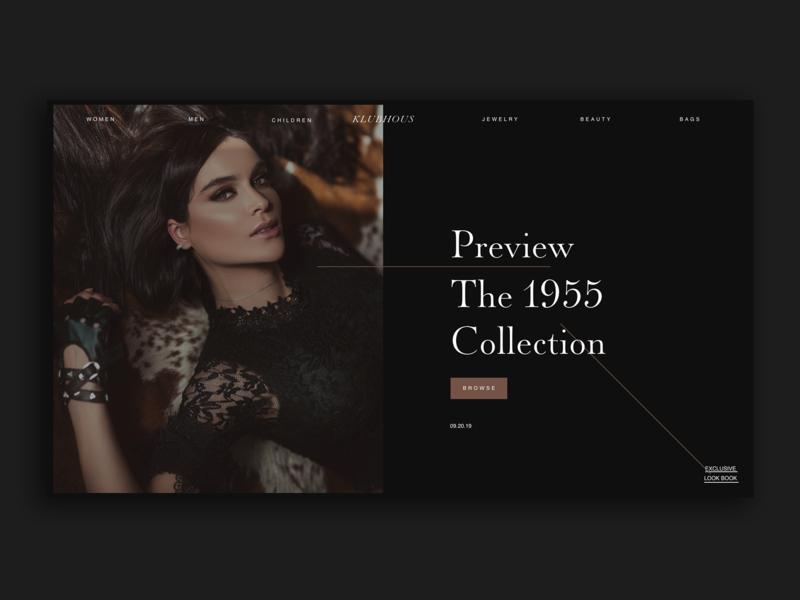 Klubhous Fashion Website typography adobe xd interface minimal website web design ux ui homepage design fashion website fashion homepage