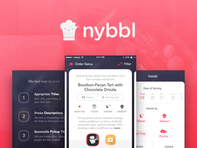 Nybbl - Food sharing done right community eat interface iphone graphics app fluid food design grappus ux ui