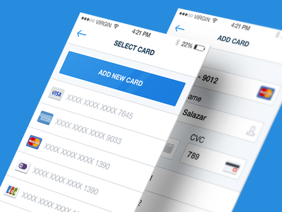 Credit Card Selection User Interface - IOS credit card selection ui ux ios iphone clean flat white minimalistic marina slipfinder