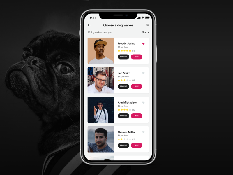 IOS App - Dolker - Dog walker finding app clean minimal design user interface mobile product dog flat  design flat simple interface ux ui  ux ui iphonex iphone app ios