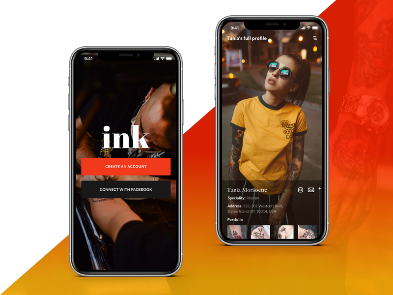 IOS App - Sign in & Profile Screens app concept colorful product interface tattoo simple flat  design flat clean mobile iphone iphonex user interface design ux ui ux ui ios app