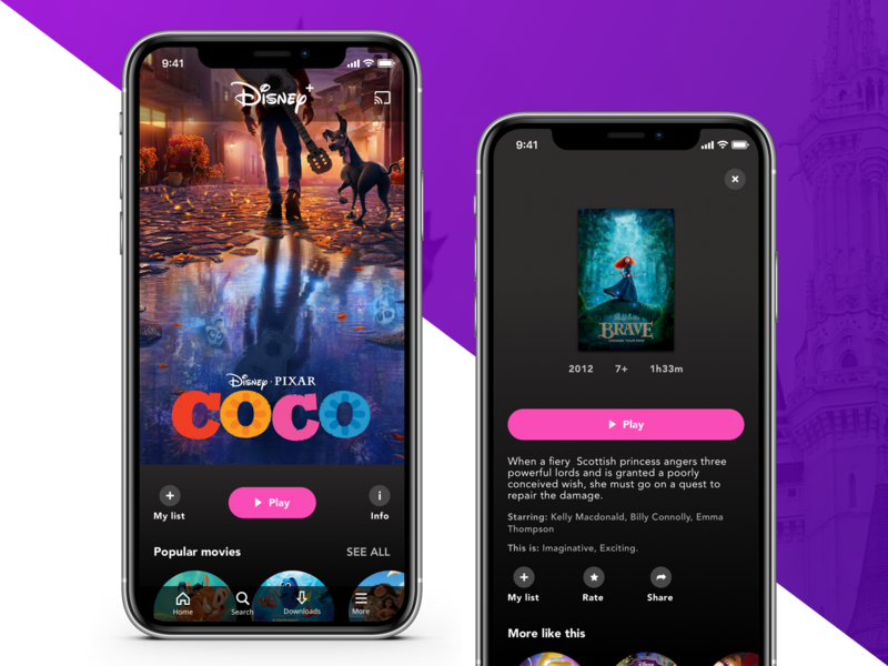 IOS App User Interface: Disney Streaming Concept design uiux gradient dailyui colors streaming mobile iphonex flat design clean simple flat user interface interface ux design ui  ux design ui ux ios app