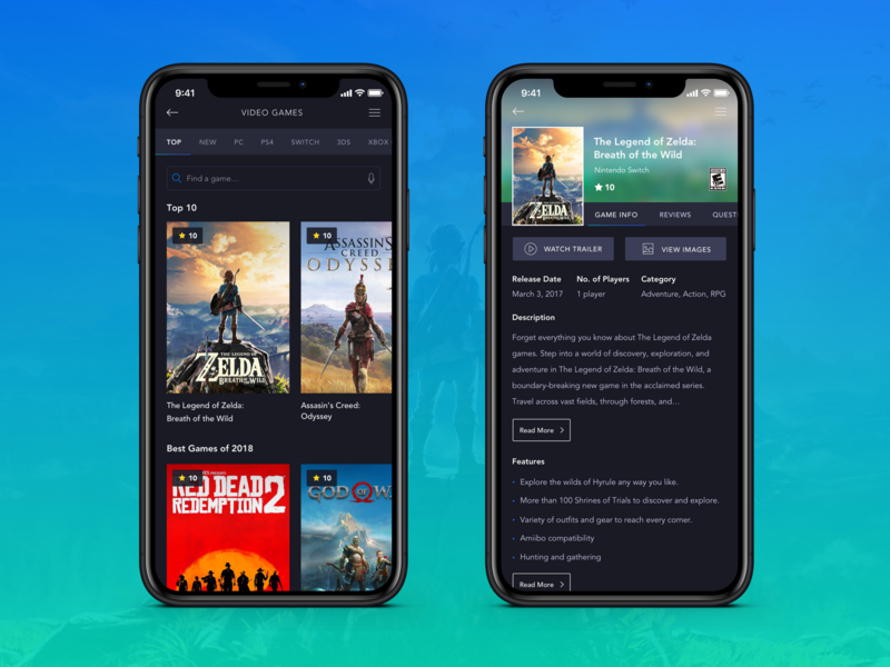Gaming IOS App - List & Detail view game uidesign creative simple product interface uiux ux ui design user inteface flat  design iphonex mobile ios app clean flat