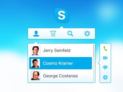Mini Skype App skype app mini app call ui message ux rebound chat application drop out