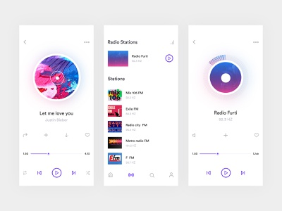 Music App Design Player and Radio Station &  Radio Player Screen players stations radio station your music user experience user interface shuffle reload previous-song popular genres popular album play song player next-song music ui music interface graphics app design album
