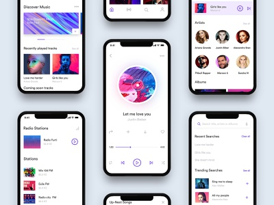 Music App Design Behance Case Study user interface user experience music app behance case study recently search radio stations search screen radio screen previous-song popular genres popular album play song players player next-song music ui music interface graphics app design album