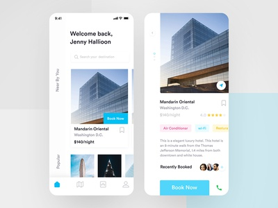 Hotel Booking App Concept search your destination booking app profile review a booking app app booking hotel room booking real estate app hotel booking details page hotel booking home screen hotel booking near by you popular booking app direction location book now destination booking  app house booking app hotel booking app