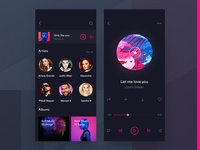 Dark Music App Artist & Player Screen Design