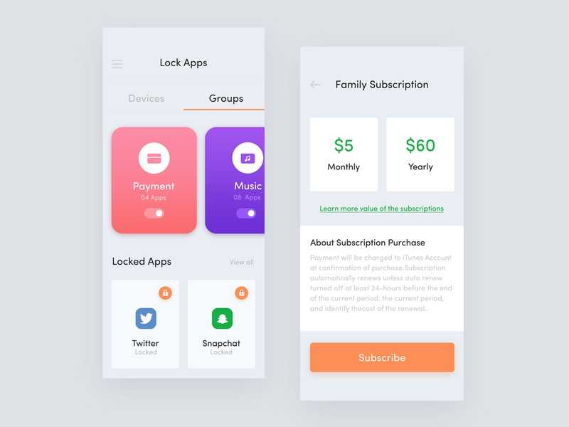 App Sitter group page user inteface pop up unlock user expreience mobile lock app lock your app lock screen lock application design lock lock app iphone 10 iphone x gradient device lock dashboard lock app