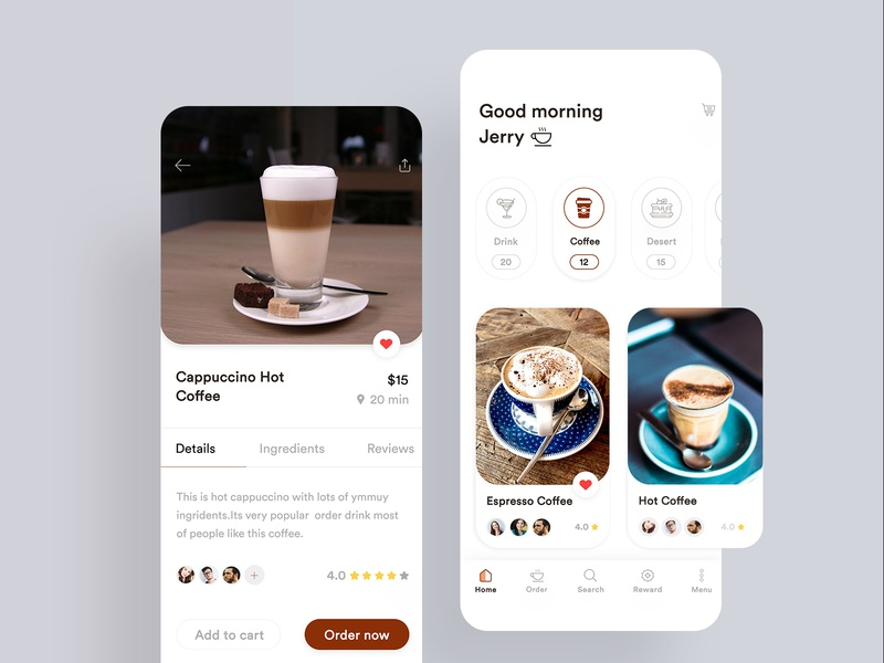 Coffee Application Design coffee ingredients app coffee details screen clean app design coffee app caffeine  card  clean ios 12 coffee near shop app coffee shop app coffee application design