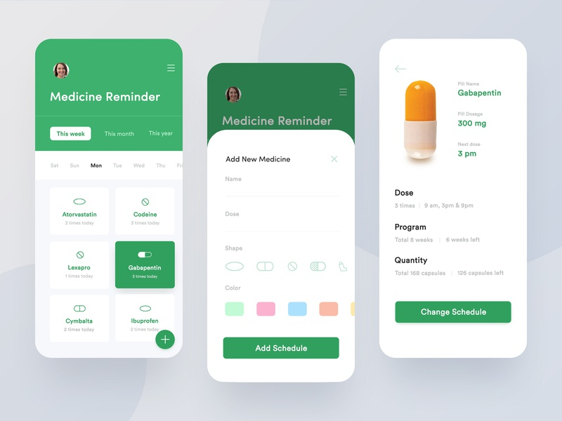 Medicine Reminder Application Design pill reminder medical  medicine mobile app  notifications  pills ui  ux pills medicine tracker app health app medical app design medicine app