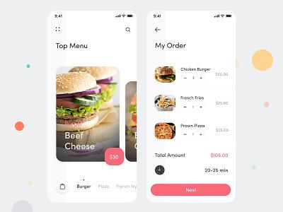 Food Application Design mobile app design ui  ux app design iphone ios online food service food delivery app food-homescreen food app my order checkout food application design