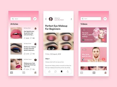 Beauty Tutorial Application Design mobile app product design beauty tuts beauty tuts beauty article landing page beauty article landing page beauty tutorial app beauty tutorial app