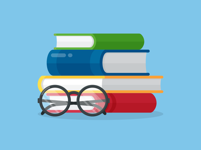 Learning stack reading glasses knowledge learn graphic design vector illustration books
