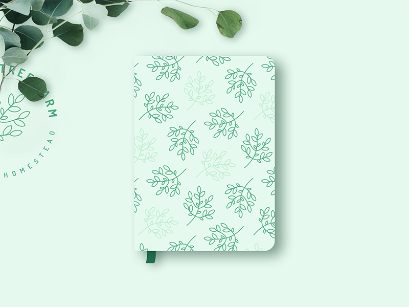 Greeting Tree Farm Notebook Design graphic design design graphic flat green organic farm illustration logo branding brand product
