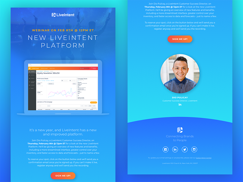 New LiveIntent Platform Email web ui platform orange layout interface graphic gradient email design blue