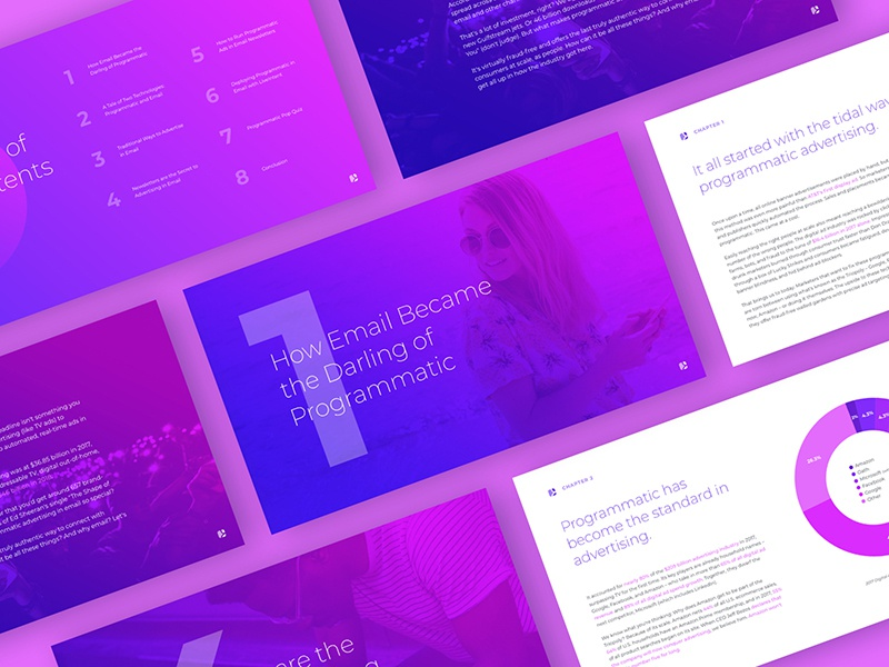 Programmatic eBook web typography technology shapes purple print gradient email e-book ebook design advertising
