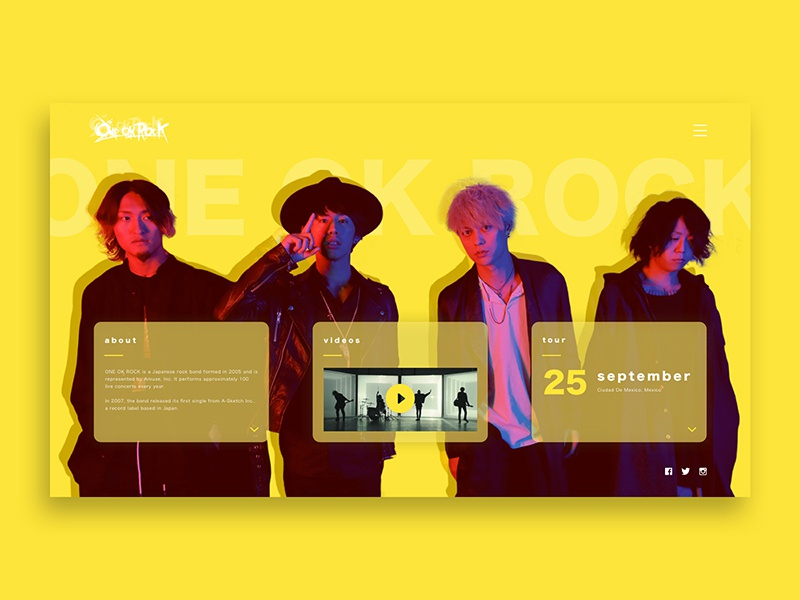 ONE OK ROCK Artist Homepage typography tile video photography yellow design graphic web japanese musician music artist