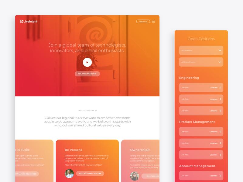 Careers Page Redesign web design color form ux ui search video digital design web gradient careers career